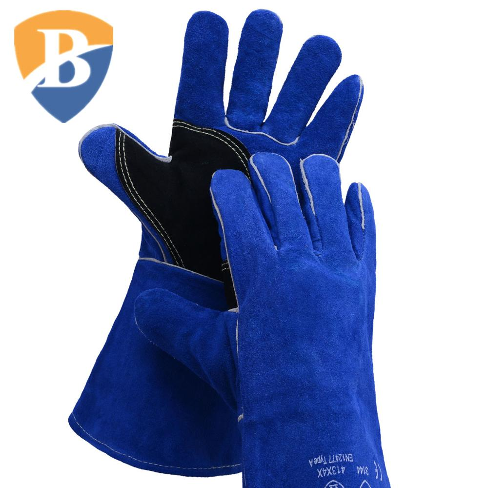 "Best Selling Low MOQ 14"" AB Grade Black Half Palm Reinforcement Blue Cow Split Leather Welding <strong>Safety</strong> Working Gloves On Stock"