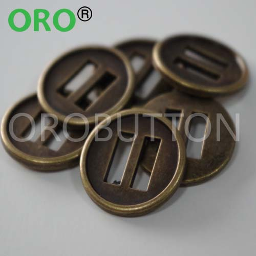 Metal double shank resin material coats button in dull color