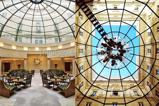 customized curve bent tempered glass dome for building roof