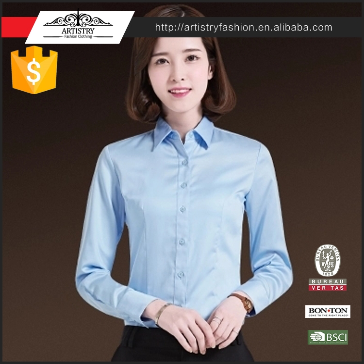 2017 New ladies office wear blouse shirt formal shirt design for women