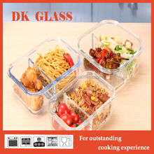 Leakproof pyrex glass food container with divider/ two compartments office lunch bento/ lunch box