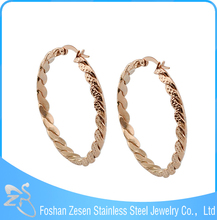 ZS17091 wholesale stainless steel cheap fashion earrings circle rose gold earrings