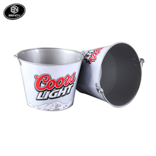 New Customer logo Galvanized Metal Champagne Wine beer Ice Bucket for BAR