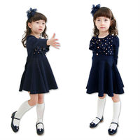 Children's clothing 32020 kid girls child beautiful Girls bow dress dot one-piece dress