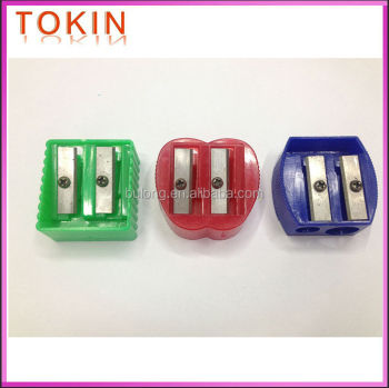 2holes plastic pencil sharpener with funny shape