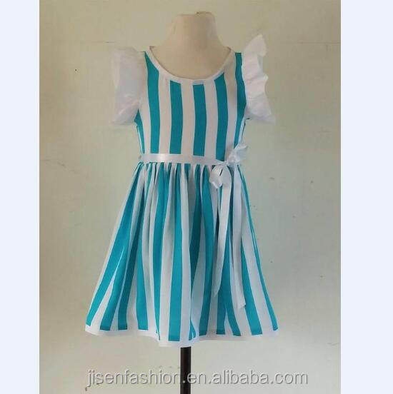 Wholesale Blue And White Striped Thin Children Collarless Girls Dress