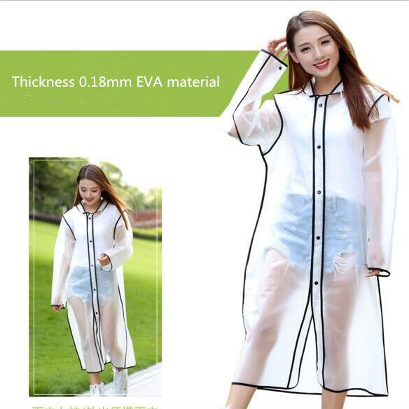 2018 design New style raincoat clear EVA ladies transparent long pvc raincoat