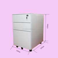 Steel Office White 3 Drawer File movable cabinet