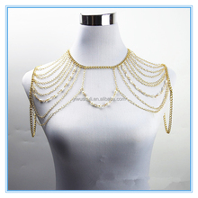 2017 jinhua yiwu wholesale multilayer statement body chain handmade pearl chain necklace body jewelry