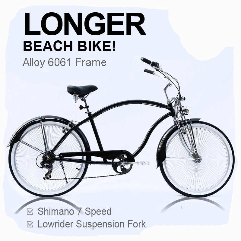 Alloy Frame 7 Speed Longer 26 28 japanese Beach Cruiser Bike for Men