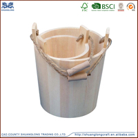 Wholesale antique wooden bucket with rope handle