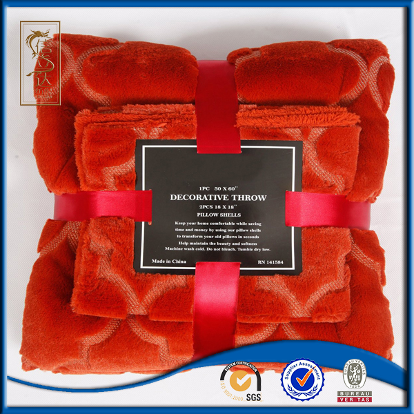 Burnt Orange Faux Fur Throw Blanket with Pillow Shell Set