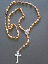 OLIVE WOOD ROSARY WITH HOLYLAND SOIL AND CRUCIFIX