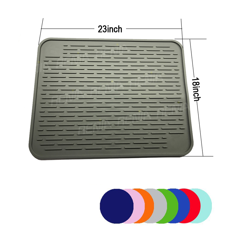 RENJIA silicone sink mat dish drying mat uk silicone custom drainer mat