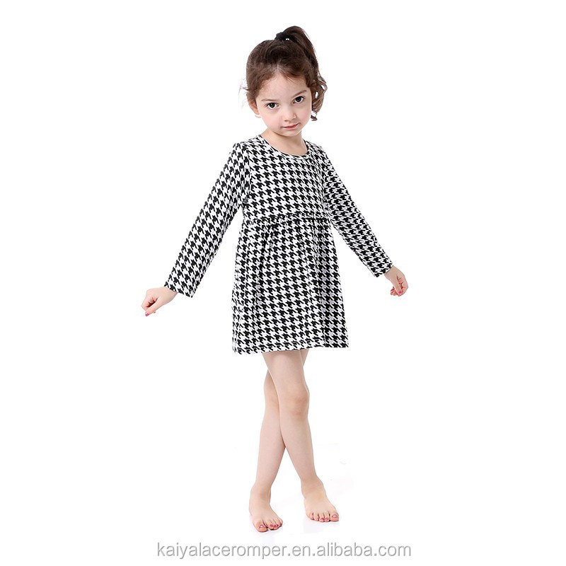 2017 baby girls Houndstooth dress,party wear dresses for girls of 2-6 years