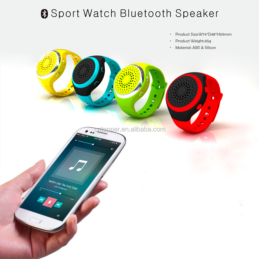 2016 China Factory Wholesale Wireless Bluetooth Speaker Ultra Thin Mini Portable Wearable Watch Speakers with FM Radio Xmas Gift