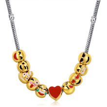 New Brand Jewelry Style <strong>Silver</strong> Plated with Glass Cabochon Cute Emoji Pattern Choker Long Pendant Necklace for Women Gift