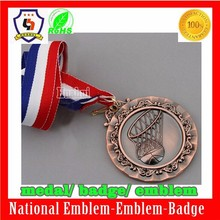 antique brass medal, basketball metal medal with ribbon for promotional from huahui factory (HH-medal-043)