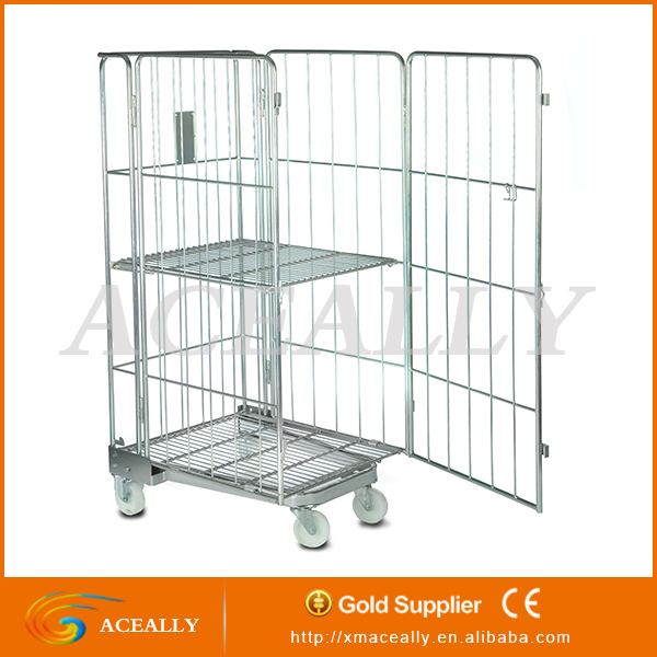 Folding roll container/Storage cage cart/Supermarket roll cages