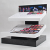 Eyeshadow palette holders tiered acrylic cosmetic eyeshadow plalette display stands with uv printing logo