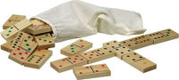 Wood Domino Game Set in canvas bag, wooden domino tiles, wooden domino set