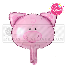 Reians Mini size Pink Pig Head cheap cartoon foil balloons aluminium animal balloon party supplies baloon (Accept OEM,ODM)