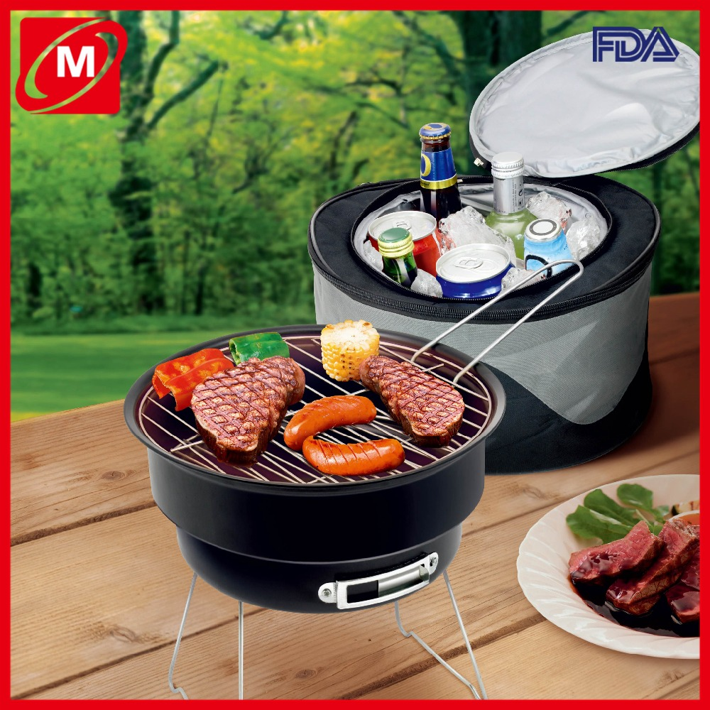 high quality 2 in 1 wholesale cheap camping outdoor bbq grill with cooler bag