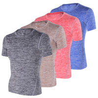 Heather Polyester Spandex Mens Training T Shirts Outdoor Performance Tee Plain Short Sleeve Gym T Shirt Sportswear
