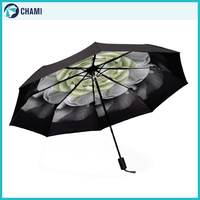 Custom outdoor windproof 3-folding ladies umbrella
