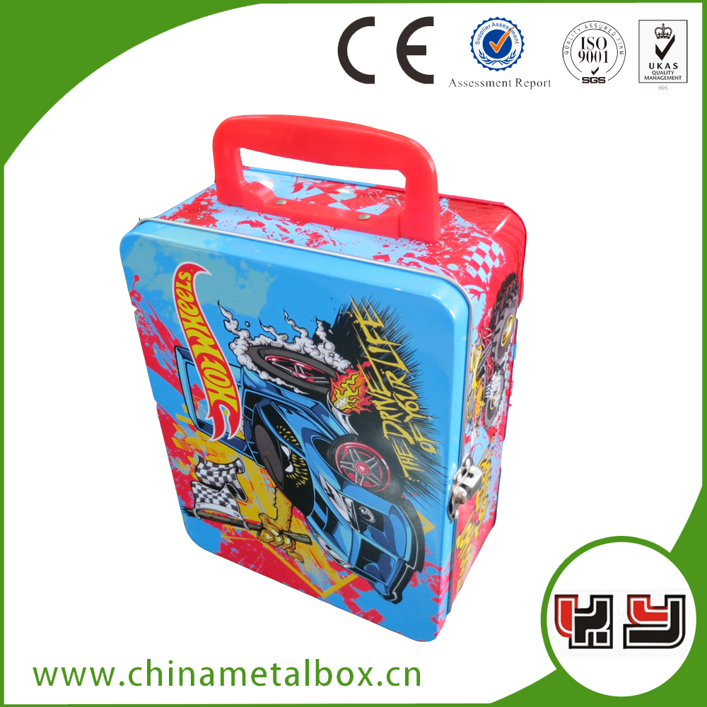 Wholesale Custom Printed Metal Tin Box With Handle Lunch Tin
