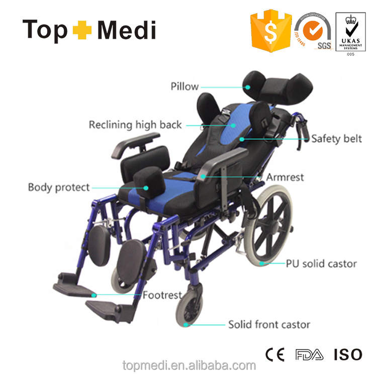 Rehabi Aluminum chair frame high back reclining wheelchairs for cerebral palsy children/ cp chair/cerebral palsy wheelchair