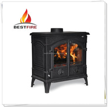 Matt black cast iron hotel antique fireplace price china indoor solid fuel stove