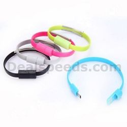 Noodle Shape Bracelet Micro USB Data Charger Cable Sync Data Short Line for Samsung for Sony for HTC (White)
