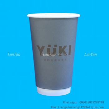Guangzhou christmas printed disposable paper coffee cups with PS cover