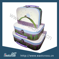 Printed Paper Packaging Storage Suitcase Box with Plastic Handle