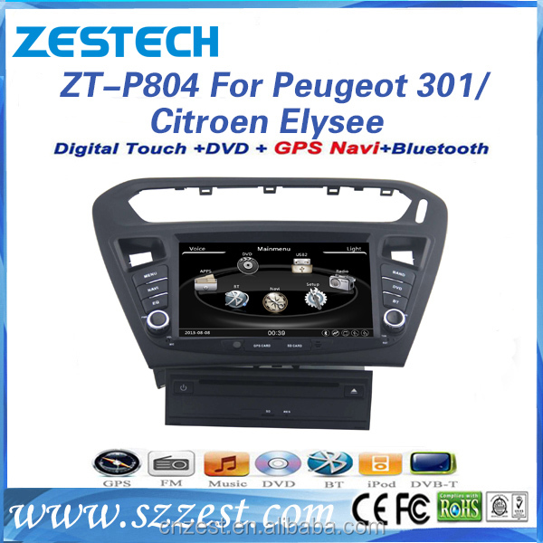 2 din in dash touch screen for peugeot 301 car dvd gps/Citroen Elysee with reverse camera