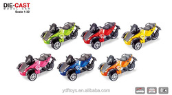 Mini die cast metal toy car three wheel motorcycle with sound light