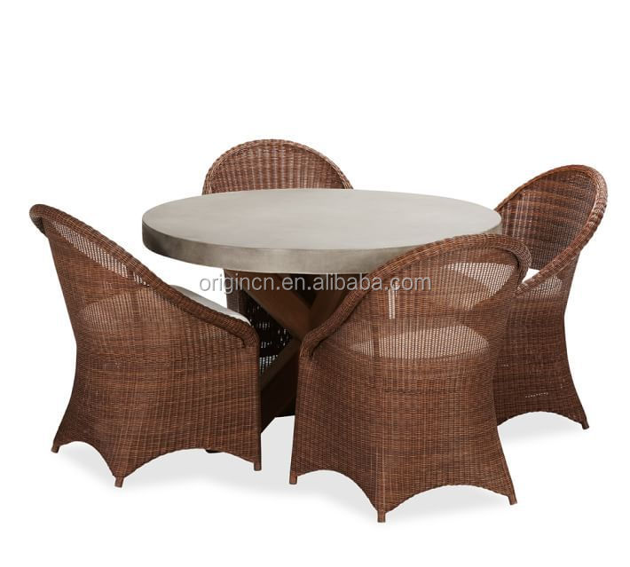 Concrete Top Wooden Round Table 5 Pieces Wicker Chairs