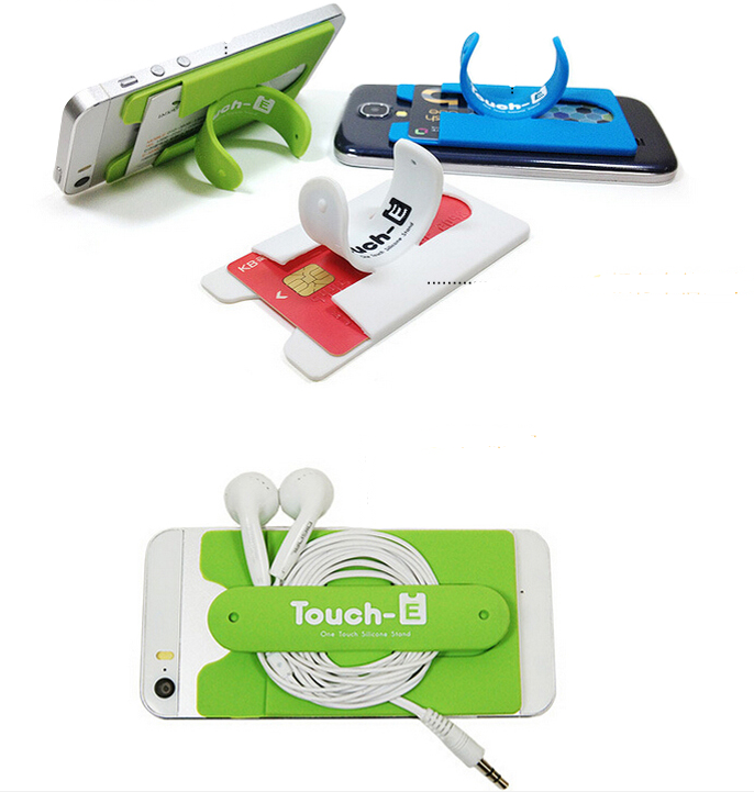 Cheap slap stand touch u silicone smartphone business credit card holder