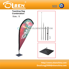 Teardrop flag with 2.8m aluminum flagpole and base plate for indoor and outdoor display