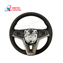 Manufacturers 365mm Car Accessories Black Green Real Leather Car Steering Wheel