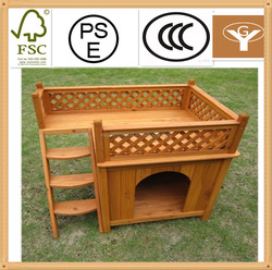 wooden cat house with balcony and ladder for summer