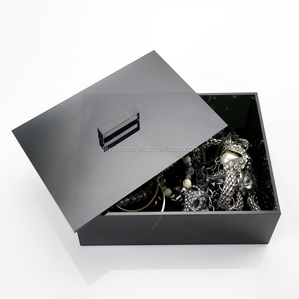 Black Acrylic Jewelery Storage Box Plexiglass Jewelery Box