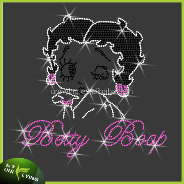 Wholesale beautiful iron on betty boop rhinestone transfers