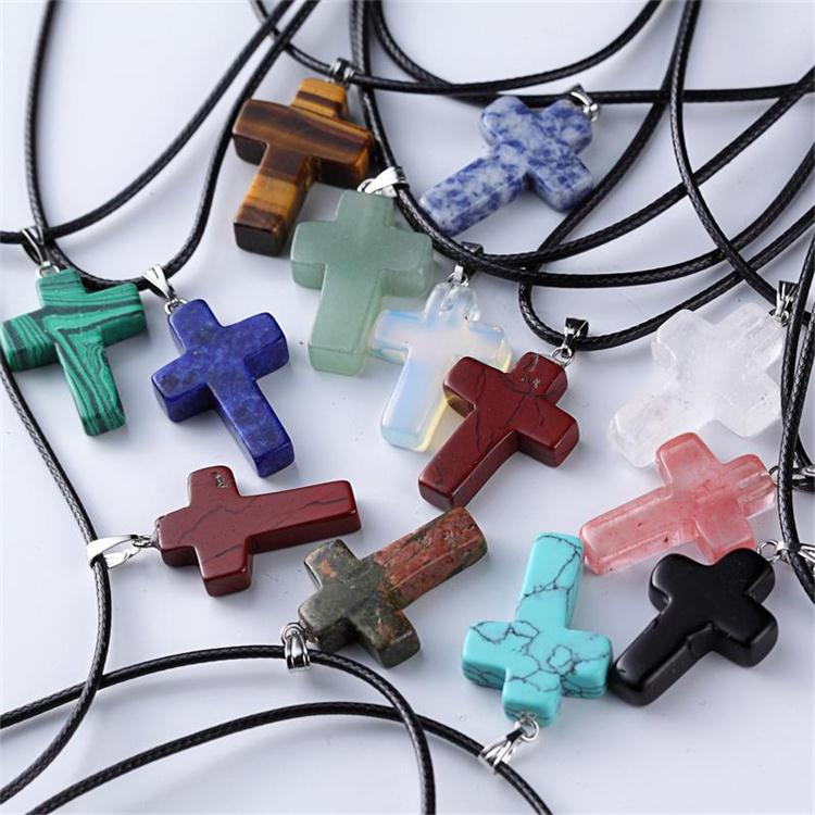 Wholesale Natural Stone Charms Punk Style Leather Cord Choker Pendants Men Cross Jewelry Necklace