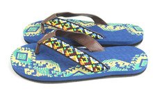 Rainbow color cotton fabric strap with navy blue eva beach printed slipper sandals
