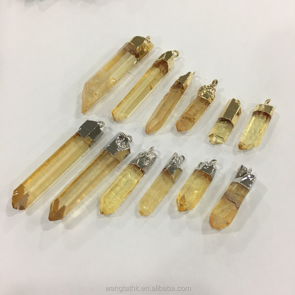 supply hexagonal prism crystal plating pendant