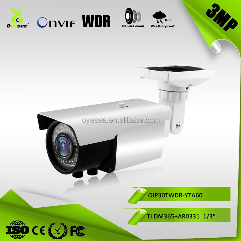 OIP30TWDR-YTA60 3MP varifocal 60m IR Range WDR china ip66 ir color ip camera with waterproof IP66 bullet camera housing
