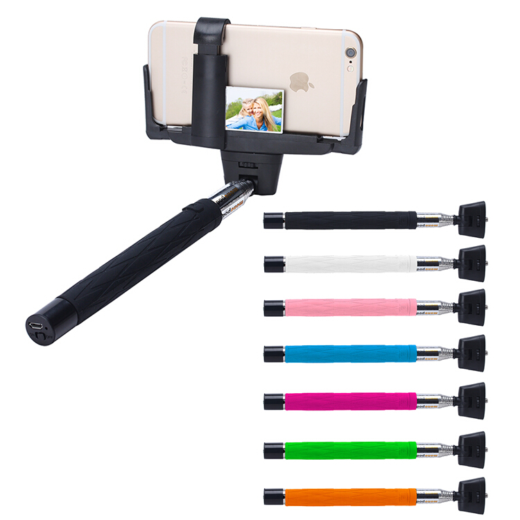 2016 high fashion customized bluetooth monopod wired selfie stick for iphone. Black Bedroom Furniture Sets. Home Design Ideas