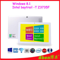 10.1 inch Capacitive Quad Core Tablets 1.83GHz 2G/64G SSD WIFI HDMI Dual Camera Window 8 Tablet PC with Removable Keyboard